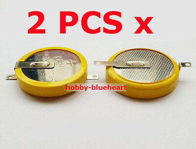2 PCS x 3V CR2450 Button Cell Battery with 2 Solder Pins/tabs New
