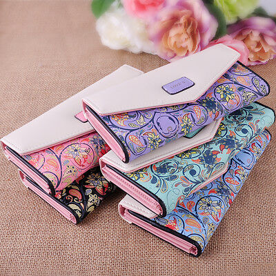 Fashion Women Lady Girl Leather Flower Long Purse Card Holder Button Clutch Bags