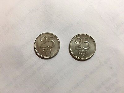 Sweden 25 Ore Silver 1949 and 1950 Uncirculated