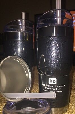 2017 DUNKIN DONUTS 24ozs stainless steel vacuum insulated tumbler Black Sparkle