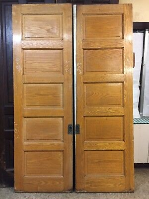 Antique Victorian Raised Panel Oak Pocket Doors Match Pair Orig. Finish