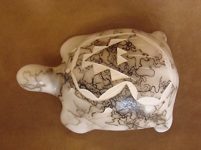 Native American Pottery Horse Hair Hand Etched Turtle by Vail! Navajo Pot