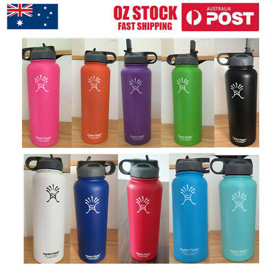 32/40OZ Hydro Flask Insulated Stainless Steel Water Bottle Wide Mouth Straw Lid