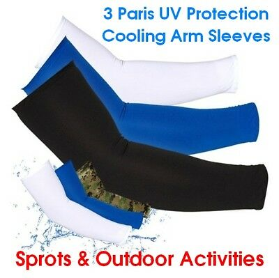 Cooling Sport Arm Stretch Sleeves Sun UV Protection Cover Golf Cycling 3 Pairs