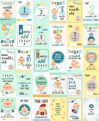 Baby Boys Moments and Milestone (milestones) Cards - Set of 30.
