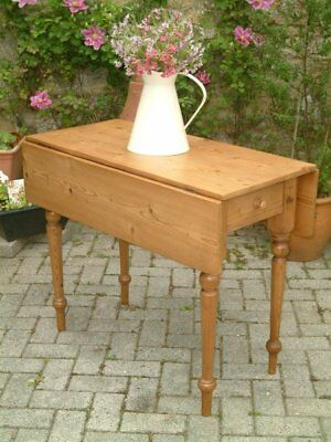 A Restored Antique Victorian Stripped Pine Drop Leaf Table
