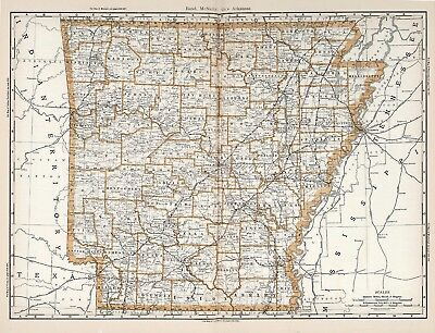 Vintage Old Antique decorative Arkansas Map Rand McNally 1890 paper or canvas