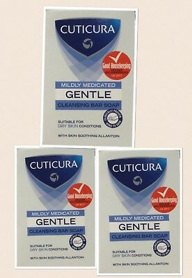 3x Cuticura Mildly Medicated Gentle Cleansing Bar Soap 100g Dry Skin