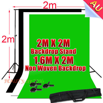 Photo Studio Black White Green Backdrops Screen Background Support Stand Kit AU