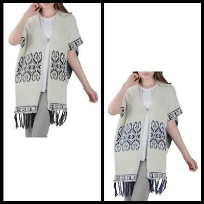 Womens Winter Knit indoor Outdoor Casual wear Mayan Pattern Fringe Poncho new