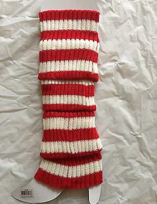 Red And White Stripe Leg warmers/warmer Stocking knit socks 80s costume