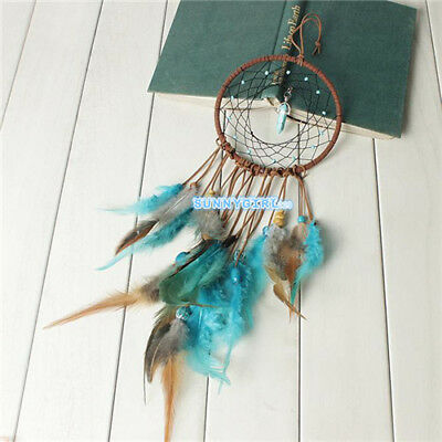 handmade green feathers dream catcher Indian style modern home wall decoration