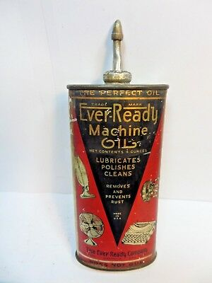 Vintage Very Rare 1940-50 Ever Ready Machine Oil Tin Can Handy Oiler Lead Top