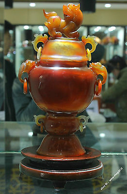 35.5 China 100% Agate Chalcedony Carved Pi Xiu Beast Unicorn Bottle Pot
