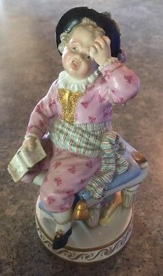 "Antique Meissen German Porcelain Figurine, Boy On Chair Holding Head 6""x3""x3"""