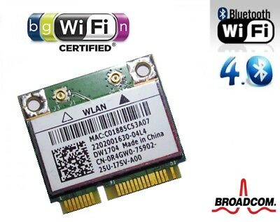 + Dell DW1704 BCM943142HM Windows10 802.11b/g/n WLAN + Bluetooth 4.0 Mini PCIe +