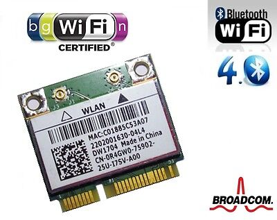 + Broadcom BCM943142HM DW1704 802.11b/g/n WLAN Bluetooth 4.0 Card Mini PCIe +