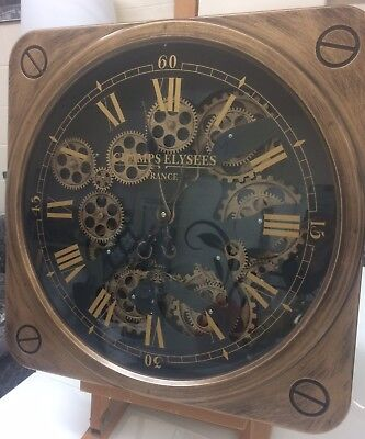 """Industrial style Copper and black wall clock with """"moving cogs"""""""