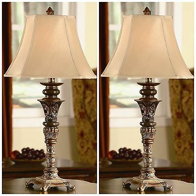 New Pair Metal Resin Table Lamp Vintage Victorian Style Aged Finish