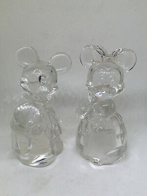 Lenox Disney Classics Mickey & Minnie Full Lead Crystal Salt Pepper Shakers 4.5""