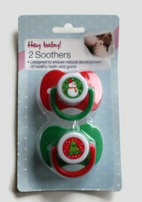 2x Christmas Baby Soothers Dummies Orthodontic Silicone Teat Xmas Gift 3m+
