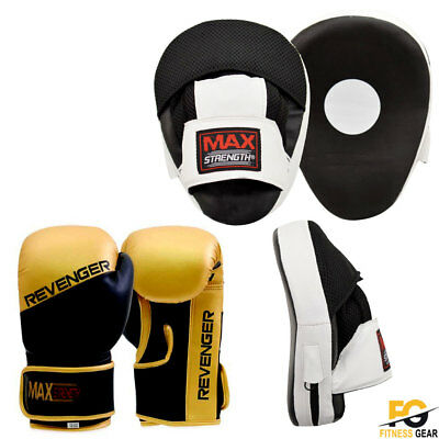 Maxstrength Focus Boxing Pads and Gloves Set MMA Pad Punching bag Gold and Black