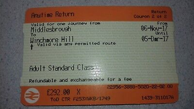 Anytime Ticket - Middlesbrough to Winchmore Hill (Via London Kings Cross)