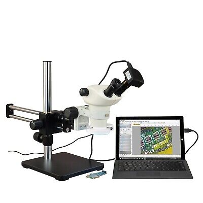 OMAX 6X-50X USB3 5MP Zoom Stereo Microscope on Ball-Bearing Boom+144-LED Light