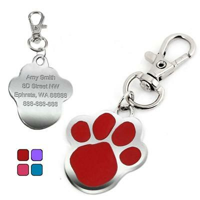 Paw Print Personalised Dog Tags Cat Pet ID Tag Engraved Name