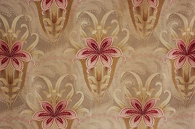 Art Nouveau Antique Fabric French floral pink green c1890 curtain fabric old