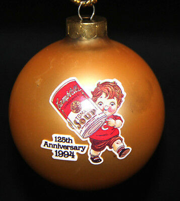 1994 Campbell's Soup Glass Ball Christmas Ornament 125th Anniversary Box A