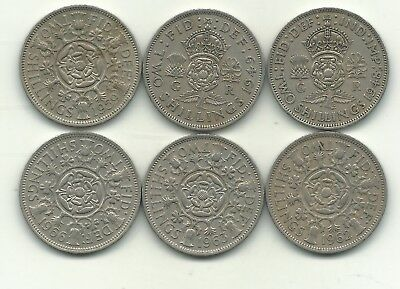 Nice Lot 6 Great Britain 2 Shilling Coins-1948,1949,1959,1962,1963,1966-Nov176