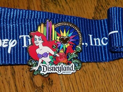 Disney Disneyland Resorts Ariel The Little Mermaid Lanyard & Trading Pin Starter