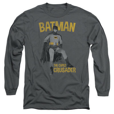 Batman 60s TV Show CAPED CRUSADER Licensed Adult Long Sleeve T-Shirt S-3XL