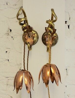 Pair of Stunning Arts and Crafts  Copper wall lights by w.a.s benson c.1900