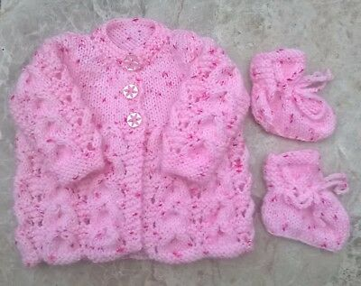 Beautiful Pink Spot Hand Knitted Baby Cardigan Newborn With Matching  Bootees