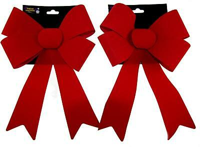 Set Of 2 Giant Christmas 29cm Red Flock Bow Decorations