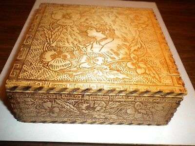 Antique Pyrography Carved Wood Wizard Box - L.F. Grammes & Sons Box