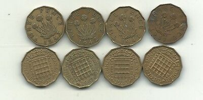 Lot 8 Great Britain 3 Pence Coins-1937,1941,1942,1943,1956,1961,1962,1967-Nov182