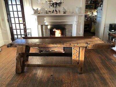 Vintage Carpenters Workbench Antique Industrial Table from 1899 gorgeous patina