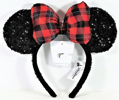 disney parks exclusive 2017 plaid christmas holiday minnie ears headband new