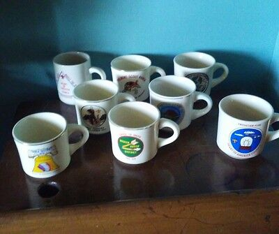 Boy Scout BSA Mugs Cups Philmont Jamboree Lot of 8 USA Vintage Gold Rim