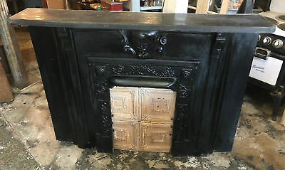 Antique Cast Iron Fireplace Mantel, Architectural Salvage