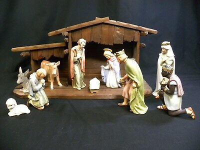 Vintage 1965 W. Goebel 10 Pc. Nativity Set with Stable made in W. Germany (DCG)