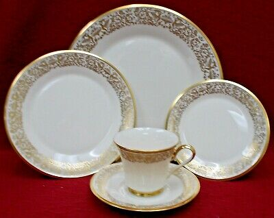 LENOX china TUSCANY pattern 5pc Place Setting - cup saucer dinner salad bread