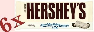 6 x Hershey's Cookies n Creme * made in U.S.A. * 6 x 43 g (1.8 oz)