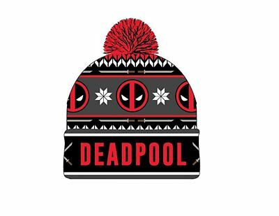 Deadpool Red Logos Holiday Print Cuff Beanie Cap Hat Licensed New