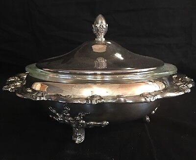 Sheridan Silver Plated Covered Serving Dish With 1 Quart Casserole Pyrex Insert