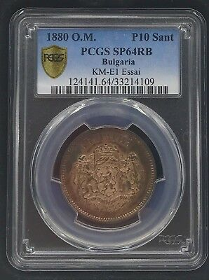1880 O.m. Bulgaria P10 Sant Pcgs Sp64Rb Very Rare