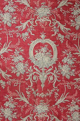 Antique English Block printed fabric material c1850 toile Rococo Christmas